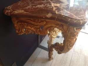 Console d'époque Louis XV en bois doré