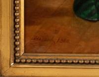 """Huile sur toile, """"Jeune fille à la lecture"""" par Pierre Emile Bernede (1830 - 1920)"""