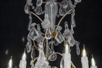 Lustre En Cristal Du XIXème Siècle, Bronze Doré, Epoque Napoléon III, Style Louis XV