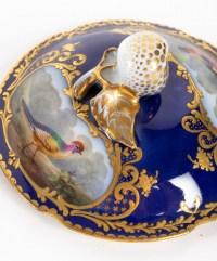 Trembleuse bleu de sèvres et or décors d'oiseaux ( Paris 1800 )