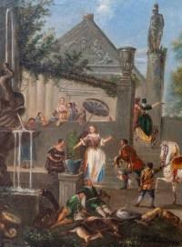 Tableau flamand, huile sur toile, scène de fête au village, XIXème siècle