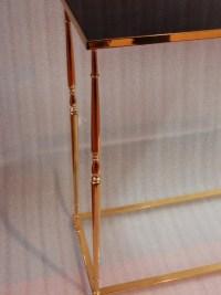 1970′ Console Bronze Doré Plateau Opaline Noire 70 X 30 X H 70 cm