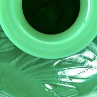 """Vase """"Poissons"""" verre vert jade multicouches patiné gris de René LALIQUE"""