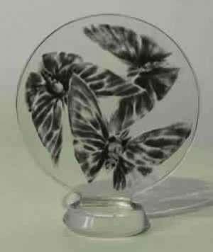 Cachet «Trois papillons» en verre translucide moulé-pressé à décor de papillons