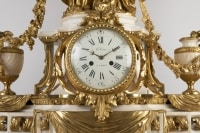 A Monumental Napoleon III Ormulu and white Marble Clock Set by Henri Vian (1860-1905)