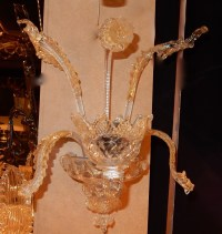 1950' Paire d'appliques 1 bras Murano Cristal et Paillons d'Or