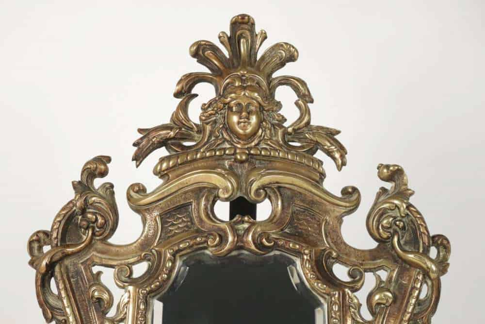 Le march biron important miroir poser en bronze for Miroir 19eme siecle