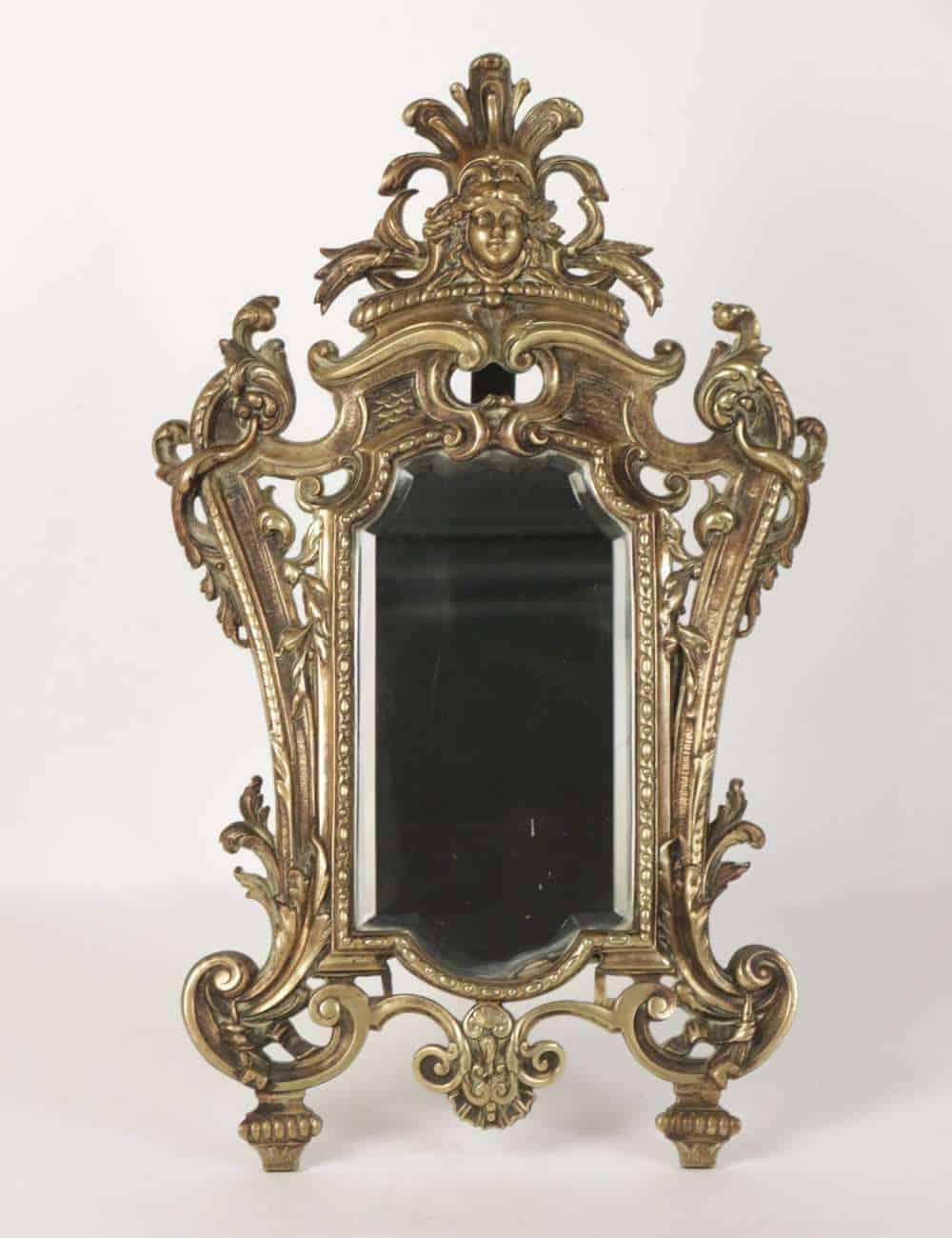 Le march biron important miroir poser en bronze for Miroir a poser par terre