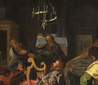 David jouant de la harpe - Ecole hollandaise vers 1600