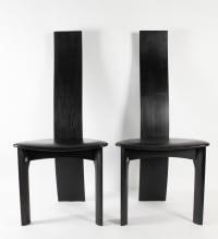 Suite De 8 Chaises En Chêne Laqué Noir
