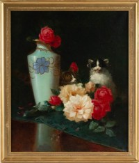 Maurice Isabelle Sprenger-Sébilleau (1849 - 1907): Flowers with Cats.