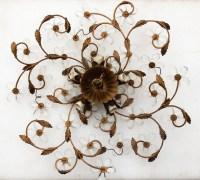 1970' Plafonnier ou Applique à Décor de Fleurs et Feuilles en Métal Doré Style Maison Bagués Feuilles en Verre