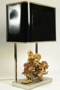 Gold gilt bronze lamp with rock crystal from the 1970's