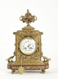 Clock set 3 pieces, 4 lights chandelabras, clock signed by Merlot-Charpentier-Paris, Gilt Bronze and Griote Marble