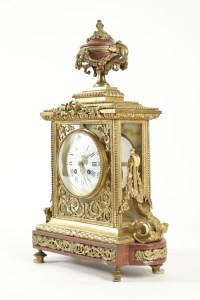 Clock set 3 pieces, 4 lights chandelabras, clock signed by Lemerle-Charpentier-Bronziers-Paris