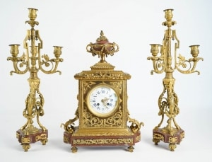 Clock set 3 pieces, 4 lights chandelabras, clock signed by Merlot-Charpentier-Paris, Gilt Bronze and Griote Marble|Clock set 3 pieces, 4 lights chandelabras, clock signed by Merlot-Charpentier-Paris, Gilt Bronze and Griote Marble||||
