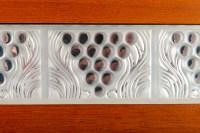 """Lalique guéridon Bois Amarante et Plaques Verre """"Raisins"""""""