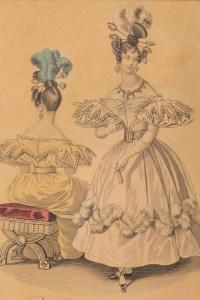 Gravure du 19e siècle sous verre représentant une élégante