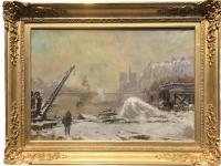 VAUTHIER Pierre Peinture fin XIXè Paris Notre Dame sous la neige Huile sur toile signée