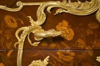 Commode en marqueterie et bronze doré aux têtes de dragons.