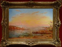 DUVIEUX Henri Ecole Française Tableau orientaliste 19ème siècle Vue ensoleillée de Constantinople Huile sur toile signée