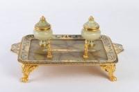 Encrier en bronze doré et cloisonné 19e Napoléon III