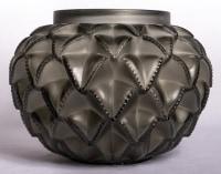 """Vase """"Languedoc"""" verre gris de René LALIQUE"""