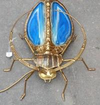1970' Applique Scarabée  de Fernandez ou Duval Brasseur avec Ailes en Agate Bleue 30 X H 35 cm
