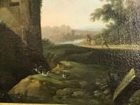 """Peinture sur toile """"Paysage animé"""". Ecole flamande XVIIème. Ref: Charles 03."""