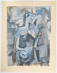 Huile sur Papier Cubiste Couleur Bleu, Femme à la mandoline, XX siècle.