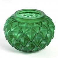 """Vase """"Languedoc"""" verre vert émeraude patiné blanc de René LALIQUE"""