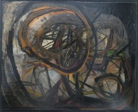 ALDINE Peinture contemporaine XXème siècle La Méditation de Hamlet Huile sur toile signée