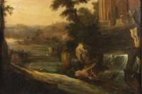 Paire de tableaux paysages italiens 18e siècle