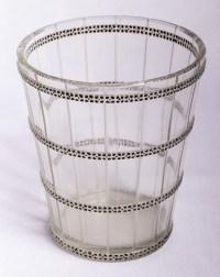 """Vase """"Morgan"""" verre blanc émaillé noir d'origine de René LALIQUE"""