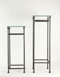 Two consoles in Wrought Iron under glass