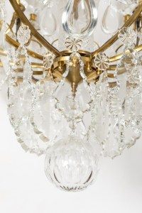 FRENCH LATE 19th CENTURY LOUIS XV PERIOD ORMULU AND CRYSTAL CHANDELIER