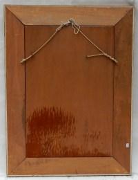 1970' Miroir Décors Fixés Sous Verre 97 X 74 CM