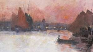 Eugène Galien-Laloue (1854 - 1941): Harbor scene in Rouen.