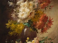 Alfred Godchaux (1835 - 1895): Roses and chrysanthenum.