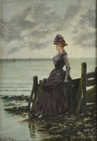 """Oil on Canvas painting by Leon Breton. """"Elegant woman at the ocean side"""" C.1900"""
