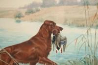 "Boris RIABOUCHINSKY, dit RIAB (1898-1975) Gouache ""Setter & Canard"""