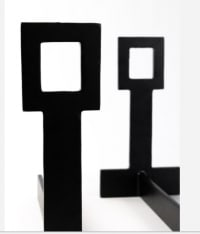 1940s Pair of Wrought Iron Cubist Chenets