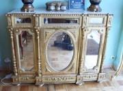 Meuble d'appui Napoléon III Miroirs et Marbre veiné gris