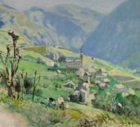 HERVE Jules René Peinture 20è siècle Village de Orcières Pyrénées Huile sur toile signée
