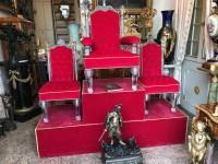 Trône et ses 2 chaises en cristal de Baccarat, par OSLER. Vers 1850. Ref:18.