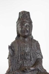 Iron Cast Buddha, Brown Patina, Unknown Dating
