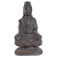 Bouddha En Fonte De Fer, Patine Brune, Datation Inconnue