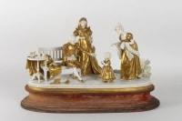 Scène Napoléon 1er et sa famille en porcelaine blanche et or 19e siècle