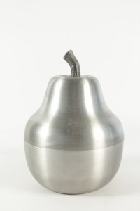 Cool ice bucket in the shape of a pear in brushed aluminum from the 1970's.