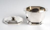 Service à thé et à café à pans coupés en argent massif et palissandre de Tétard Frères